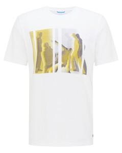 Pierre Cardin Slub Jersey Fantasy Print T-Shirt Wit