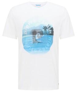 Pierre Cardin T-Shirt Logo T-Shirt Wit-Blauw