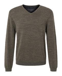 Pierre Cardin V-Neck Denim Academy Trui Olive Brown