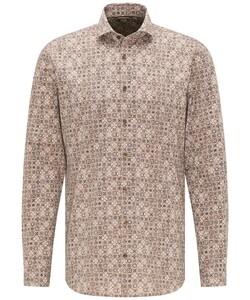 Pierre Cardin Voyage Fine Ornament Poplin Overhemd Beige