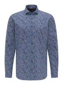 Pierre Cardin Voyage Fine Ornament Poplin Overhemd Blauw