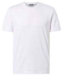 Pierre Cardin Voyage Shirt Uni Comfort Stretch Round Neck T-Shirt Wit