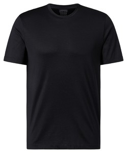 Pierre Cardin Voyage Shirt Uni Comfort Stretch Round Neck T-Shirt Zwart