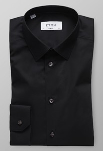 Eton Fine Twill Stretch Super Slim Zwart