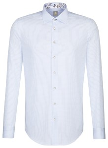 Jacques Britt Contrast Extra Long Sleeve Check Blauw