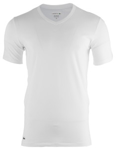 Lacoste Cotton Stretch V-Neck 2-Pack White