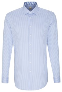 Jacques Britt Striped Collar Contrast Blauw