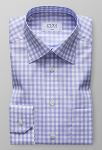 Eton Classic Signature Twill Check Pastel Blauw