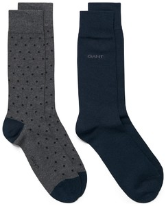 Gant 2Pack Dot And Solid Socks Houtskool Grijs