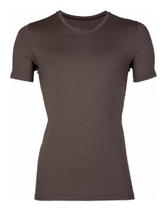 RJ Bodywear Pure Color V-hals T-Shirt Ondermode Bruin