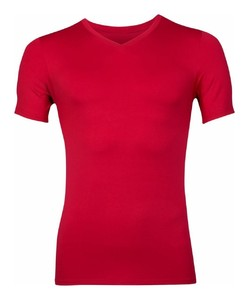 RJ Bodywear Pure Color V-hals T-Shirt Ondermode Donker Rood