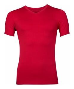 RJ Bodywear Pure Color V-hals T-Shirt Ondermode Donker Rood
