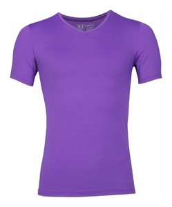 RJ Bodywear Pure Color V-hals T-Shirt Ondermode Paars