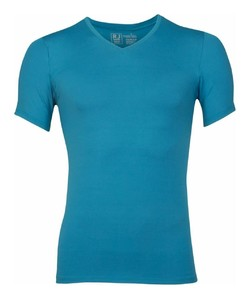 RJ Bodywear Pure Color V-hals T-Shirt Ondermode Petrol