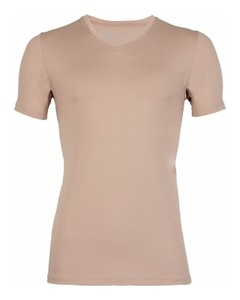RJ Bodywear Pure Color V-hals T-Shirt Ondermode Zand