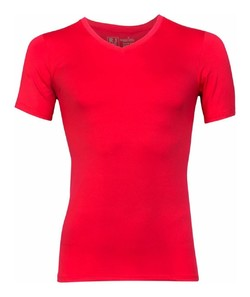 RJ Bodywear Pure Color V-Neck T-Shirt Underwear Red