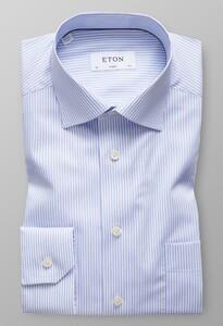 Eton Striped Subtle Stretch Shirt Licht Blauw