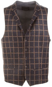 Roy Robson Blue-Brown Check Waistcoat Blue-Brown