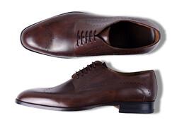 Roy Robson Derby Brogue Perforated Shoes Dark Brown Melange