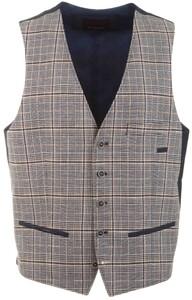 Roy Robson Fine Check Waistcoat Grey