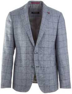 Roy Robson Fine-Structure Check Jacket Mid Blue