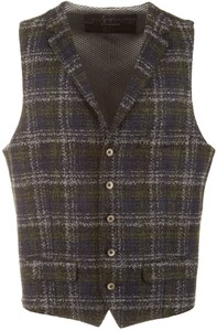Roy Robson Intertwined Check Gilet Forest