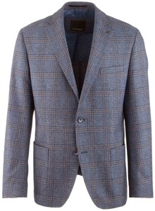 Roy Robson Shape Fit Blue Fancy Check Jacket Mid Blue