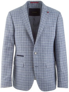 Roy Robson Structured Check Colbert Blauw