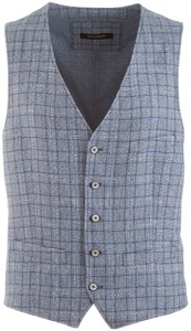 Roy Robson Structured Check Waistcoat Blue