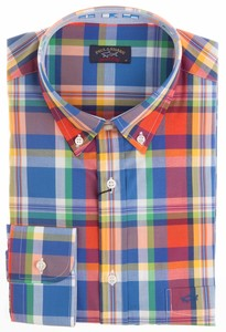 Paul & Shark Multicolor Collar Contrasted Check Blauw