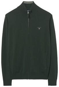 Gant Superfijn Lamswol Zipper Vest Tartan Green Melange
