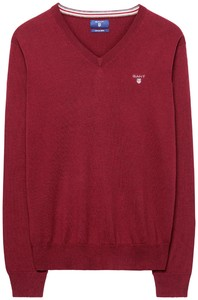 Gant Cotton Wool V-Neck Bordeaux Melange