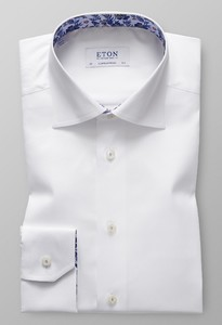 Eton Signature Twill Floral Contrast Wit