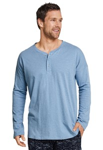 Schiesser Button T-Shirt Long Sleeve Mix & Relax T-Shirt Licht Blue Melange