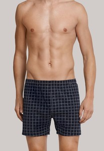 Schiesser Check Boxershort Underwear Dark Evening Blue