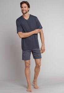 Schiesser Ebony Korte Pyjama Nightwear Anthracite Grey