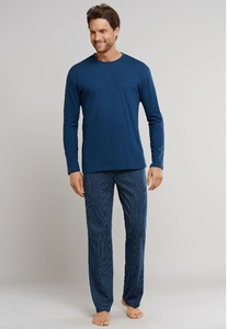 Schiesser Ebony Lange Pyjama Nachtmode Donker Blauw
