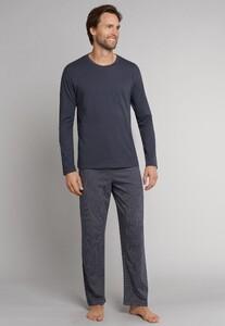 Schiesser Ebony Lange Pyjama Nightwear Anthracite Grey