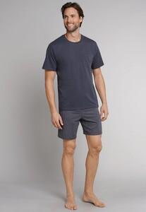 Schiesser Ebony Pyjama Kort Nightwear Anthracite Grey