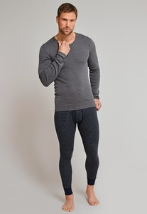 Schiesser Feinripp Melange Long Johns Underwear Dark Evening Blue