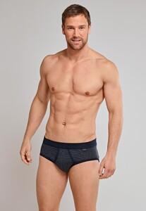 Schiesser Feinripp Melange Sports Brief Underwear Dark Evening Blue