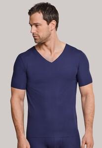 Schiesser Laser Cut Korte Mouw V-Neck Underwear Blue
