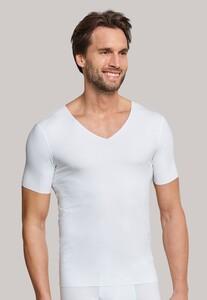 Schiesser Laser Cut Korte Mouw V-Neck Underwear White
