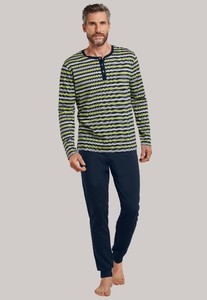 Schiesser Lights on Blue Pyjama Striped Serafino Nachtmode Lemon