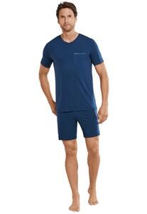 Schiesser Long Life Cotton Pyjama Nachtmode Donker Blauw