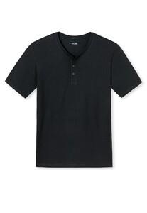 Schiesser Mix & Relax Cotton T-Shirt Knoopjes T-Shirt Black