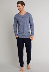Schiesser Mix & Relax Cotton T-Shirt Knoopjes T-Shirt Dark Blue Extra Melange