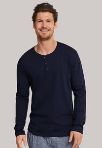 Schiesser Mix & Relax Cotton T-Shirt Knoopjes T-Shirt Donker Blauw
