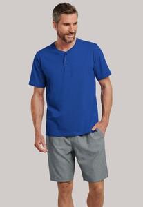 Schiesser Mix & Relax Cotton T-Shirt Knoopjes T-Shirt Royal Blue