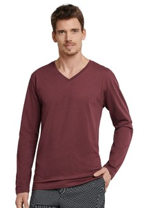 Schiesser Mix & Relax Cotton T-Shirt V-Hals T-Shirt Dark Red